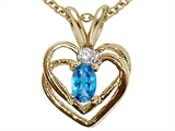 Tommaso Design™ Oval 5x3mm Genuine Blue Topaz and Diamond Heart Pendant