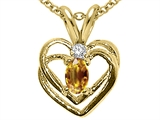Tommaso Design™ Oval 5x3mm Genuine Citrine and Diamond Heart Pendant style: 21234