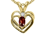 Tommaso Design Oval 5x3mm Genuine Garnet and Diamond Heart Pendant