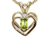 Tommaso Design™ Oval 5x3mm Genuine Peridot and Diamond Heart Pendant