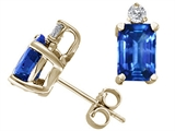 Tommaso Design™ Emerald Cut 6x4mm Genuine Sapphire Earrings style: 21331