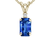 Tommaso Design™ Emerald Cut 6x4mm Genuine Sapphire and Diamond Pendant