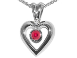 Tommaso Design™ Genuine Ruby and Diamond Heart Shaped Pendants