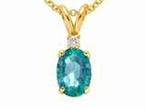 Tommaso Design™ Genuine Emerald and Diamond Pendant style: 21451