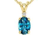 Tommaso Design™ Genuine Blue Topaz and Diamond Pendant