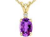 Tommaso Design™ Genuine Amethyst and Diamond Pendant style: 21461