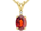 Tommaso Design™ Genuine Garnet and Diamond Pendant