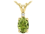Tommaso Design™ Genuine Peridot and Diamond Pendant style: 21463