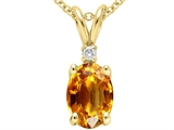 Tommaso Design™ Genuine Citrine and Diamond Pendant style: 21464