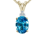 Tommaso Design Oval 10x8 Genuine Blue Topaz Pendant