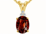 Tommaso Design Oval 10x8mm Genuine Garnet Pendant