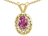 Tommaso Design Genuine Pink Tourmaline Oval 6x4mm Pendant