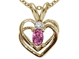 Tommaso Design™ Genuine Pink Tourmaline and Diamond Heart Pendant