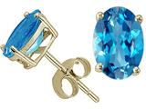 Tommaso Design Oval Genuine Blue Topaz Earring Studs