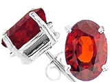 Tommaso Design™ Oval 9x7 mm Genuine Garnet Earrings