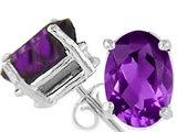 Tommaso Design™ Oval 9x7 mm Genuine Amethyst Earrings