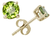 Tommaso Design™ Round Genuine Peridot Earrings Studs style: 21556