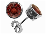 Tommaso Design Round 6mm Genuine Garnet Earrings