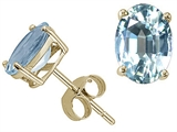 Tommaso Design Oval Genuine Aquamarine Earring Studs