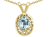 Tommaso Design Genuine Aquamarine Oval 6x4mm Pendant