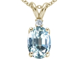 Tommaso Design™ Oval 8x6 mm Genuine Aquamarine Pendant