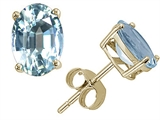 Tommaso Design™ Oval 7x5 mm Genuine Aquamarine Earring Studs