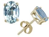Tommaso Design™ Oval 7x5 mm Genuine Aquamarine Earrings Studs style: 21595
