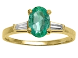 Tommaso Design™ Genuine Emerald and Diamond Engagement Ring