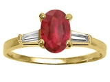 Tommaso Design™ Genuine Ruby and Diamond Engagement Ring
