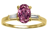 Tommaso Design™ Oval 7x5 mm Genuine Pink Tourmaline and Diamond Engagement Ring
