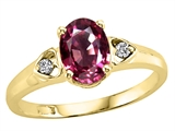 Tommaso Design™ Oval 7x5mm Genuine Pink Tourmaline and Diamond Ring style: 21669