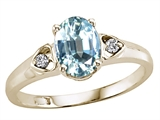 Tommaso Design™ Genuine Aquamarine and Diamond Ring