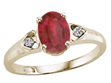 Tommaso Design™ Oval 7x5mm Genuine Ruby and Diamond Ring
