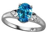 Tommaso Design™ Oval 8x6mm Genuine Blue Topaz and Diamond Ring