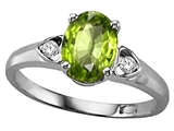 Tommaso Design™ Oval 8x6mm Genuine Peridot and Diamond Ring