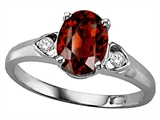 Tommaso Design™ Genuine Garnet and Diamond Ring