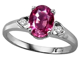 Tommaso Design™ Oval 8x6mm Genuine Pink Tourmaline and Diamond Ring