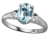 Tommaso Design Oval 8x6mm Genuine Aquamarine and Diamond Ring
