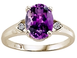 Tommaso Design™ Genuine Amethyst and Diamond Ring style: 21684