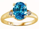 Tommaso Design™ Oval 9x7 mm Genuine Blue Topaz and Diamond Ring