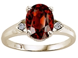 Tommaso Design™ Genuine Garnet and Diamond Ring style: 21686