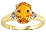 Tommaso Design Oval 9x7 mm Genuine Citrine and Diamond Ring