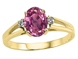 Tommaso Design™ Oval 7x5mm Genuine Pink Tourmaline and Diamond Ring