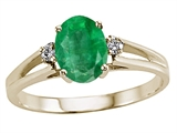 Tommaso Design Genuine Emerald and Diamond Ring