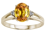 Tommaso Design™ Oval 8x6 mm Genuine Citrine and Diamond Ring