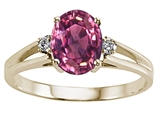 Tommaso Design™ Oval 8x6 mm Genuine Pink Tourmaline and Diamond Ring