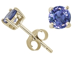 Tommaso Design™ 5mm Round Genuine Tanzanite Stud Earrings