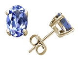 Tommaso Design Oval 6x4mm Genuine Tanzanite Earrings