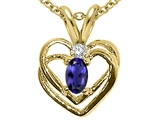 Tommaso Design™ Oval 6x4mm Genuine Iolite and Diamond Heart Pendant