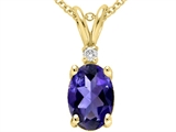 Tommaso Design Oval 7x5 mm Genuine Iolite and Diamond  Pendant